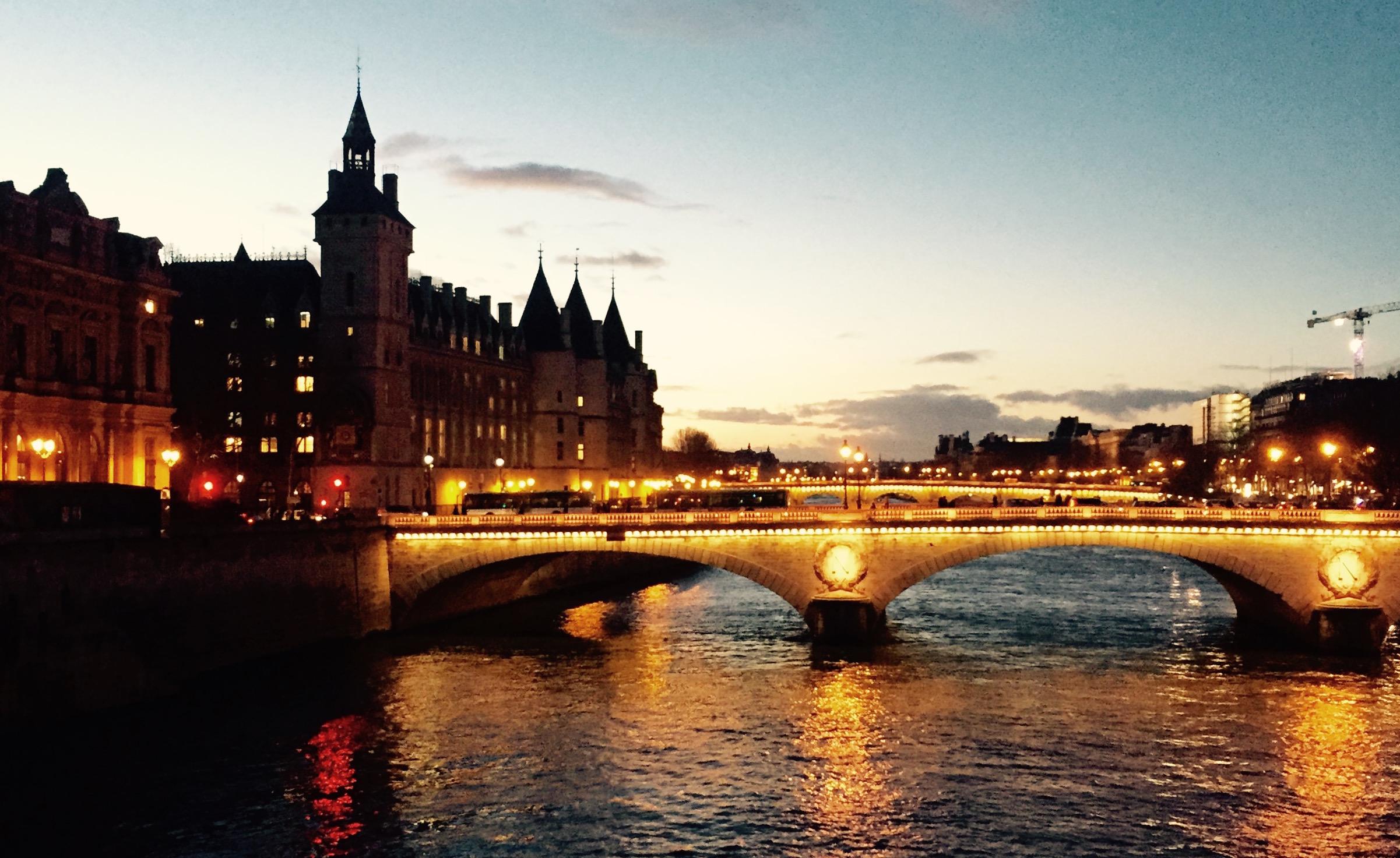 Paris Bridge at Night